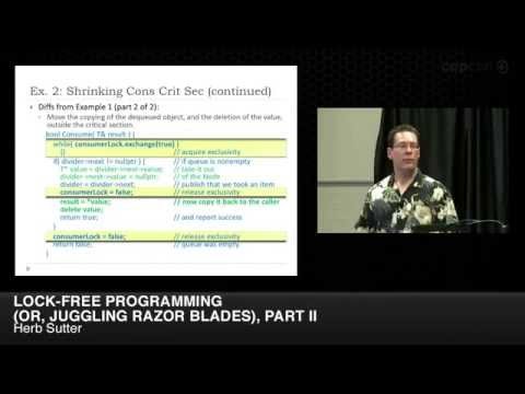 "CppCon 2014: Herb Sutter ""Lock-Free Programming (or, Juggling Razor Blades), Part II"""