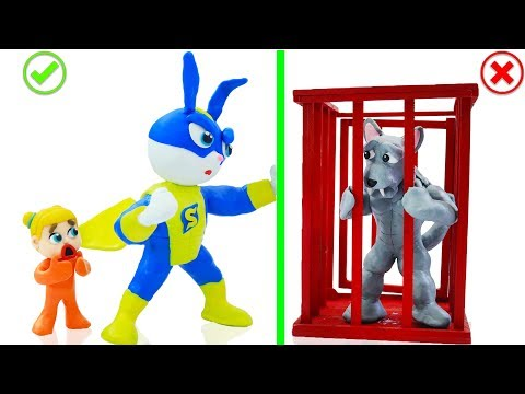 SUPERHERO BABY SAVES ANIMAL BUNNY RABBIT 💖 Stop Motion Cartoons Animation