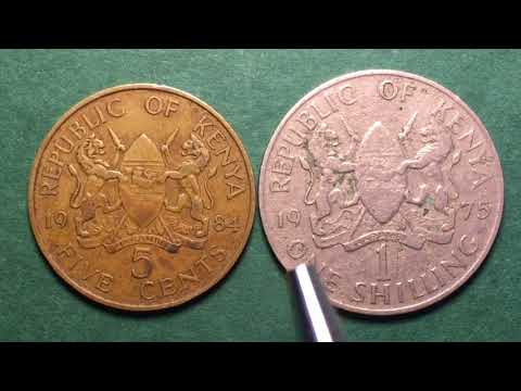 KENYA 1984 5 Cents And 1975 1 Shilling  Monday AM Africa Coin Video #4   - HOORAY!!!