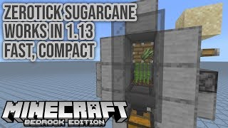 New Compact Zerotick Sugarcane Farm for Minecraft Bedrock Tutorial 1.13+