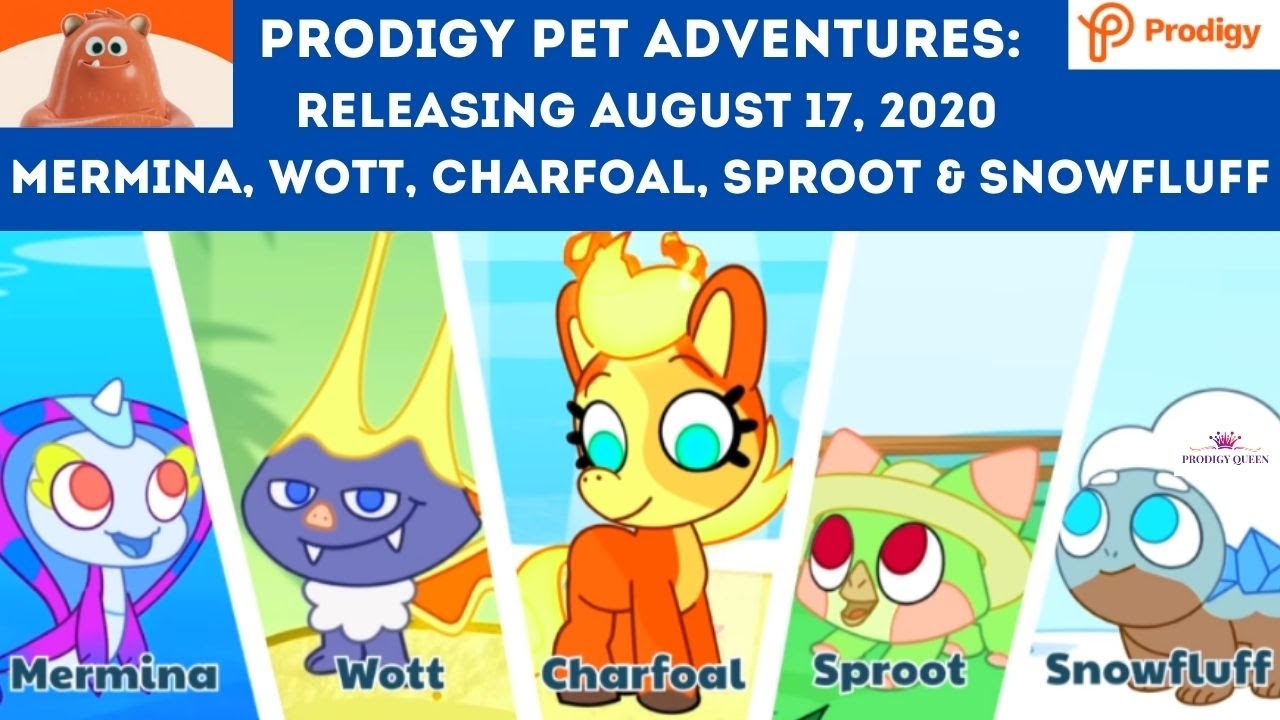 Prodigy Pet Adventures Releasing Aug 17 2020 Mermina Wott Charfoal Sproot Snowfluff Battling Youtube