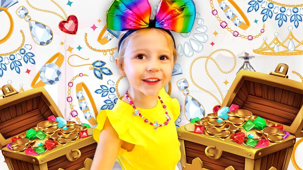 Nastya bermain dengan pakaian, perhiasan, dan mainan tata rias