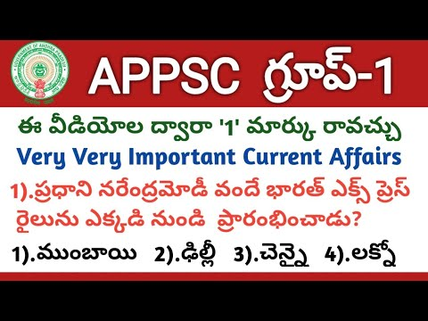 #APPSC Group1 Screening Test 2019 Model Question Paper-3, Important Current Affairs  Group1 Syllabus