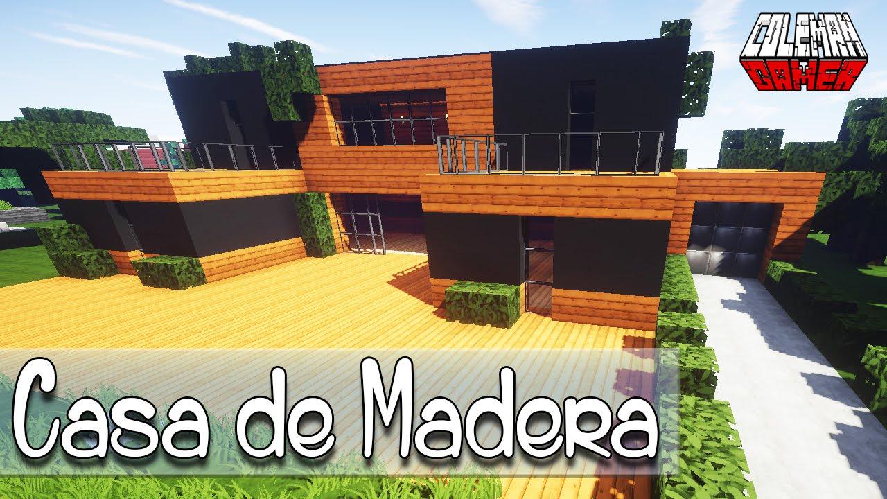 MINECRAFT Como hacer una Casa Moderna de Madera - YouTube