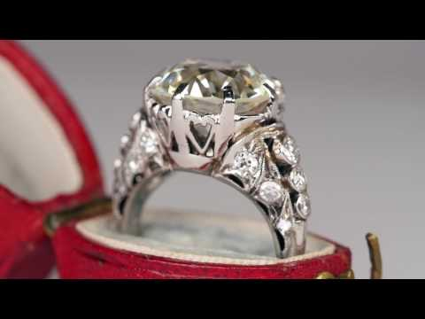 Antique 6 Carat Old European Cut Diamond Ring