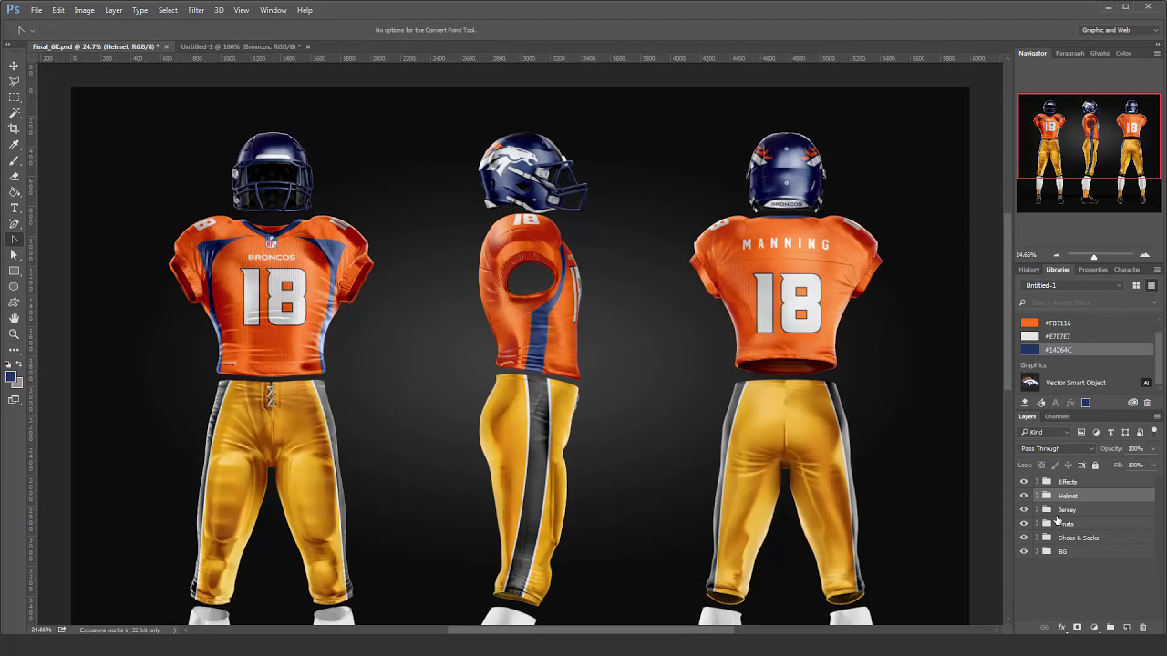design a realistic nfl broncos jersey and uniform in photoshop youtube