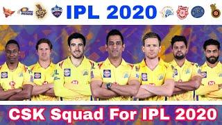 IPL 2020 - Chennai Super Kings (CSK) Full Squad Before IPL Auction   MY Cricket Production