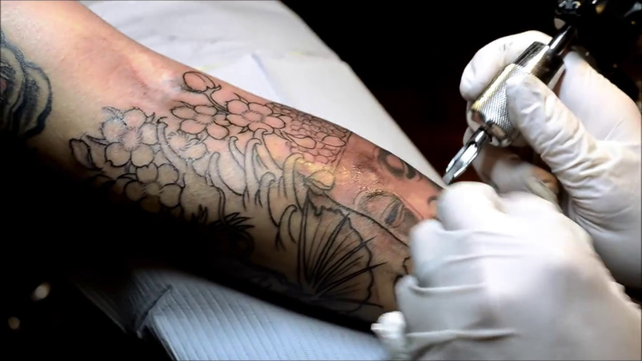 My 1st session lower arm Tattoo Dragon Koi, Buddha , Blossom , - YouTube