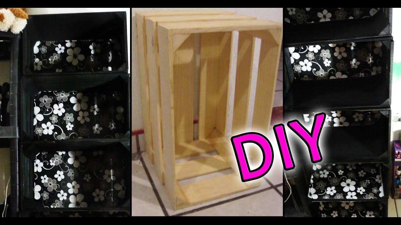 Diy organizador con cajas o huacales de madera reciclando for Como reciclar puertas de madera