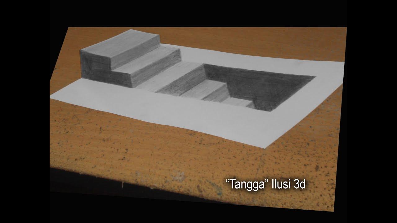 """Melukis Dengan Pensil 2B - ILUSI 3D """"Tangga"""" - YouTube"""