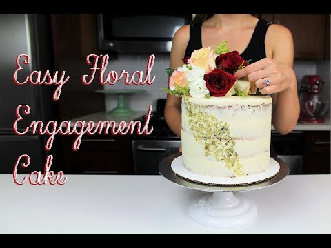 Simple Floral Engagement Cake Chelsweets Youtube