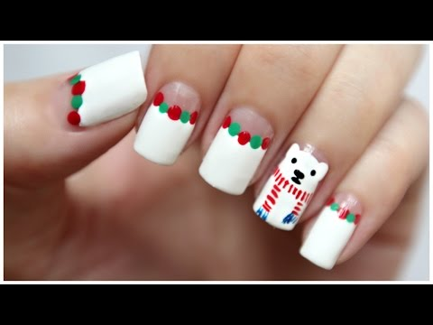 Winter Nail Art: Polar Bear Wearing A Scarf
