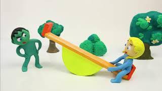 Playground fun 💕Superhero Play Doh Stop motion cartoons