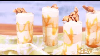 Peanut Butter White Chocolate Mousse with Caramel Drizzle Recipe