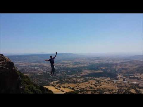Highline Slackline Monte Arci - Sardinia. The dream!