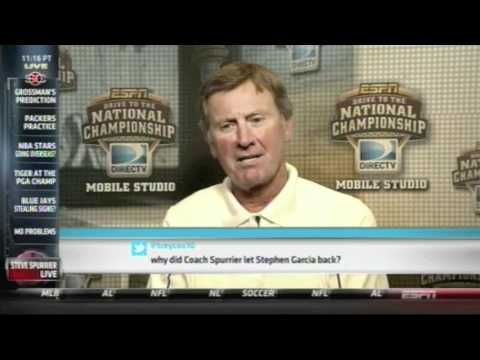 Steve Spurrier suspends Stephen Garcia for foul language, then swears on TV