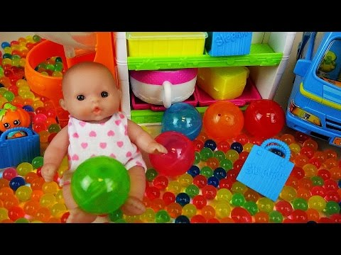 Baby doll and Surprise eggs Orbeez toys with Shopkins