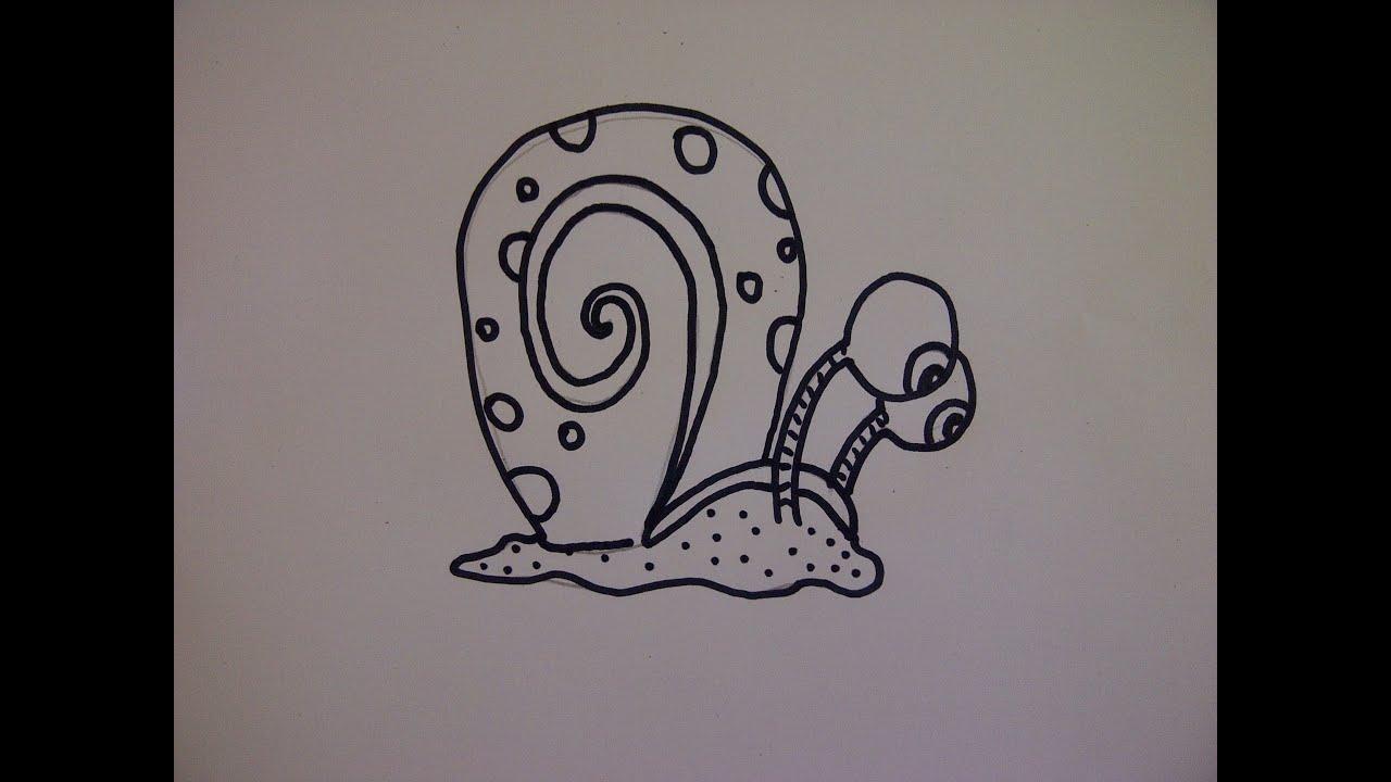 Cómo dibujar a Gary el caracol de Bob Esponja. Como hacer un dibujo ...