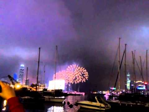 2013 Chinese New Year Fireworks in Hong Kong (with IFC, ICC and yachts as background)