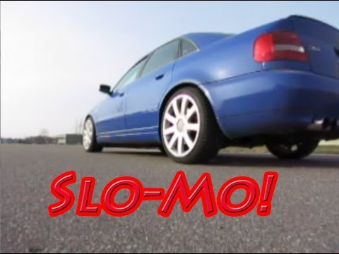 Audi S4 quattro Perfect AWD Launch 0-60 in Slow Motion - (4 wheel burnout)