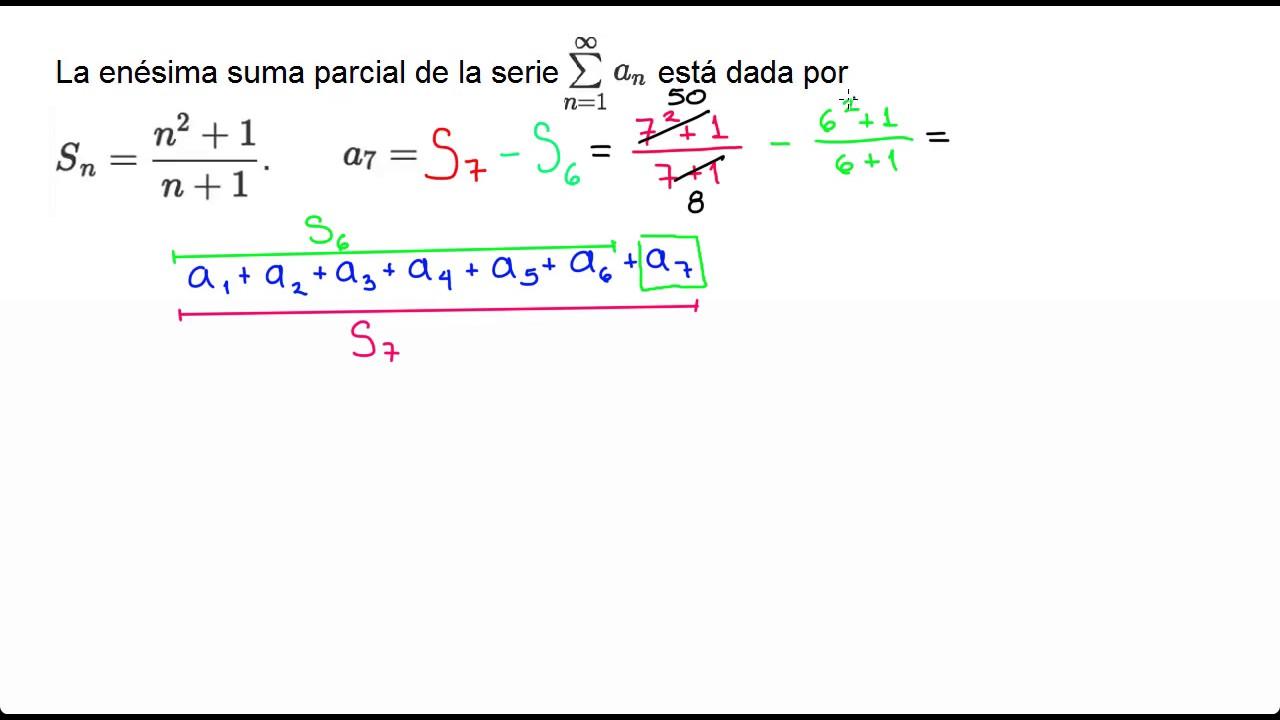 Sumas parciales: valor del término de una suma parcial   Álgebra ...