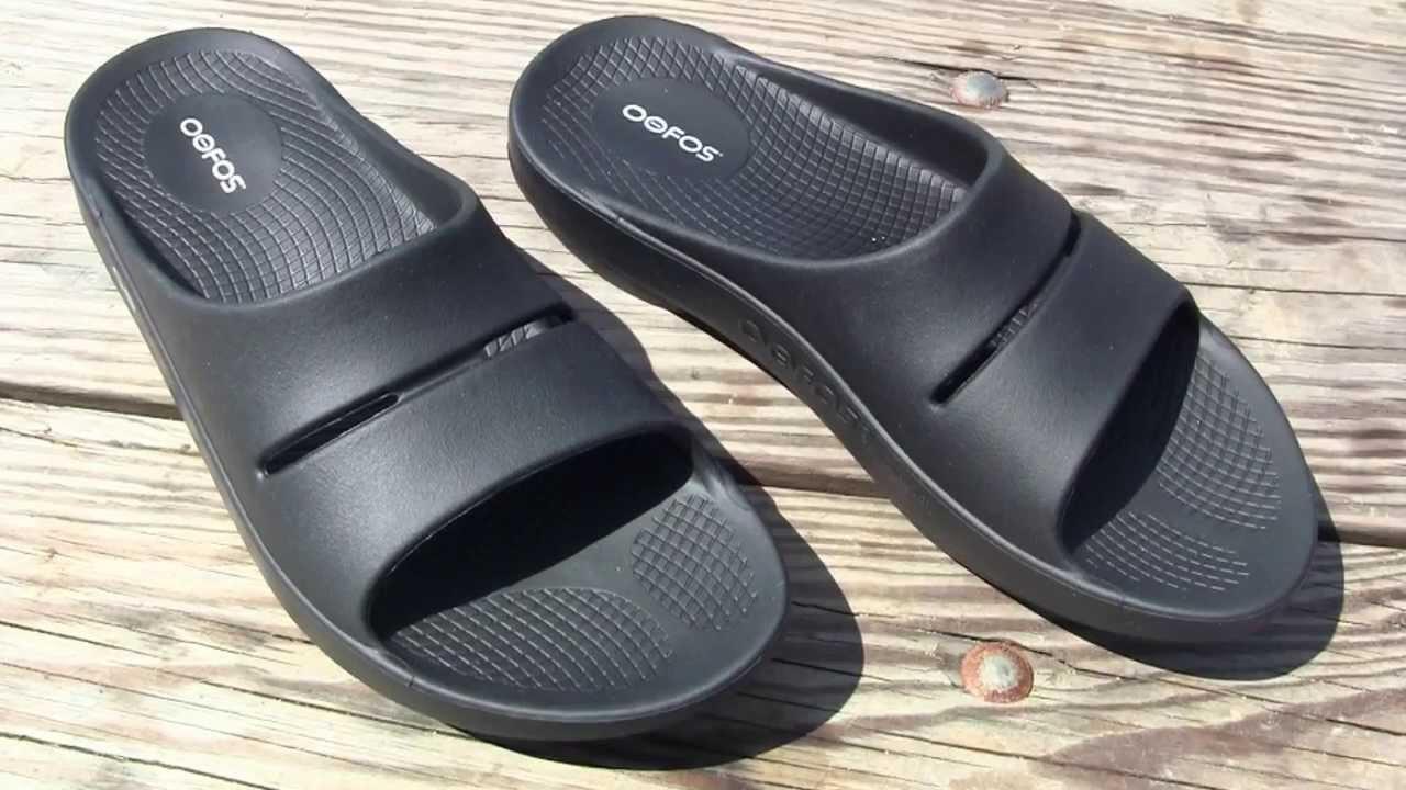 58073d3e7e5f OOFOS OOahh Black Slide Sandals - YouTube