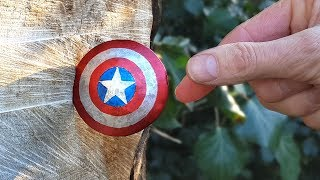 THROWING Captain America's Mini Titanium Shield - BrainfooTV