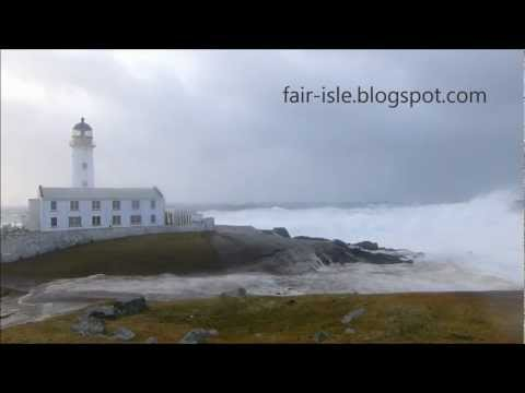 Biggest Waves in the world today, wash out South Lighthouse - Fair Isle, Shetland.