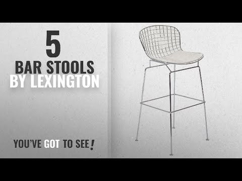 Top 10 Lexington Bar Stools [2018]: Modway Bertoia Style Stool with White Seat Cushion