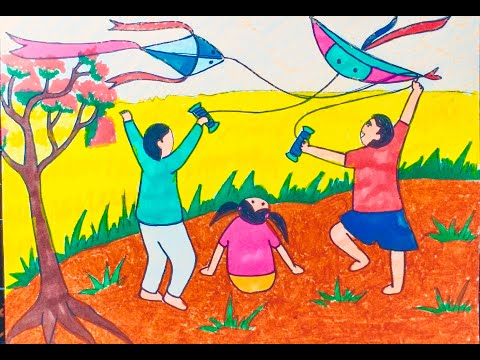 tranh vẽ thả diều tại kienthuccuatoi.com