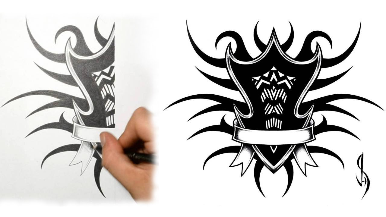 how i draw a tribal family shield tattoo design youtube. Black Bedroom Furniture Sets. Home Design Ideas
