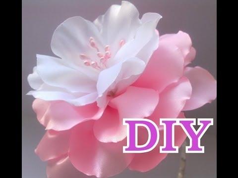 Видео Цветок Канзаши Мастер Класс Своими Руками Flower Кanzashi Hand Made - нежный бело- розовый цветок)
