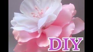 Цветок Канзаши Мастер Класс Своими Руками Flower Кanzashi Hand Made - нежный бело- розовый цветок)