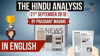 English 21 September 2018 - The Hindu Editorial News Paper Analysis  [UPSC/SSC/IBPS] Current affairs