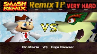 Smash Remix - Classic Mode Remix 1P Gameplay With Dr. Mario (VERY HARD)