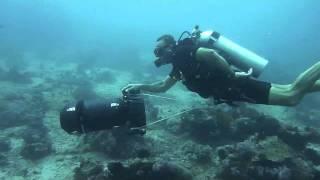Khaled Zaki scuba diving with Gavin DPV under water scooter