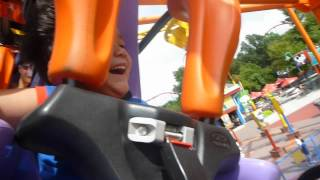 """Carowinds 2012 - Calvin rides his first """"big"""" roller coaster - The Flying Ace Aerial Chase"""