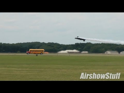 300+ MPH Jet Powered School Bus Races an Airplane! - Battle Creek Airshow 2014