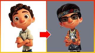 Luca Pixar Glow Up  Transform Bad Boy - Luca Disney Cartoon Art