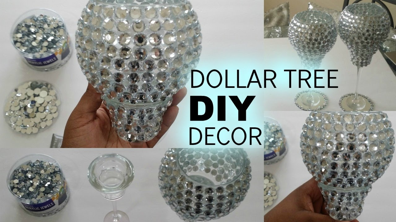Diy Dollar Tree Bling Candle Holders Youtube