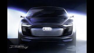 アウディ、発表間近の電気自動車4ドアクーペSUVのスケッチを公開【上海...