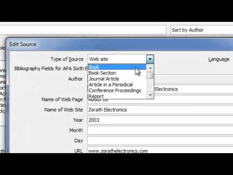 Adding Citations & References Using MS Word