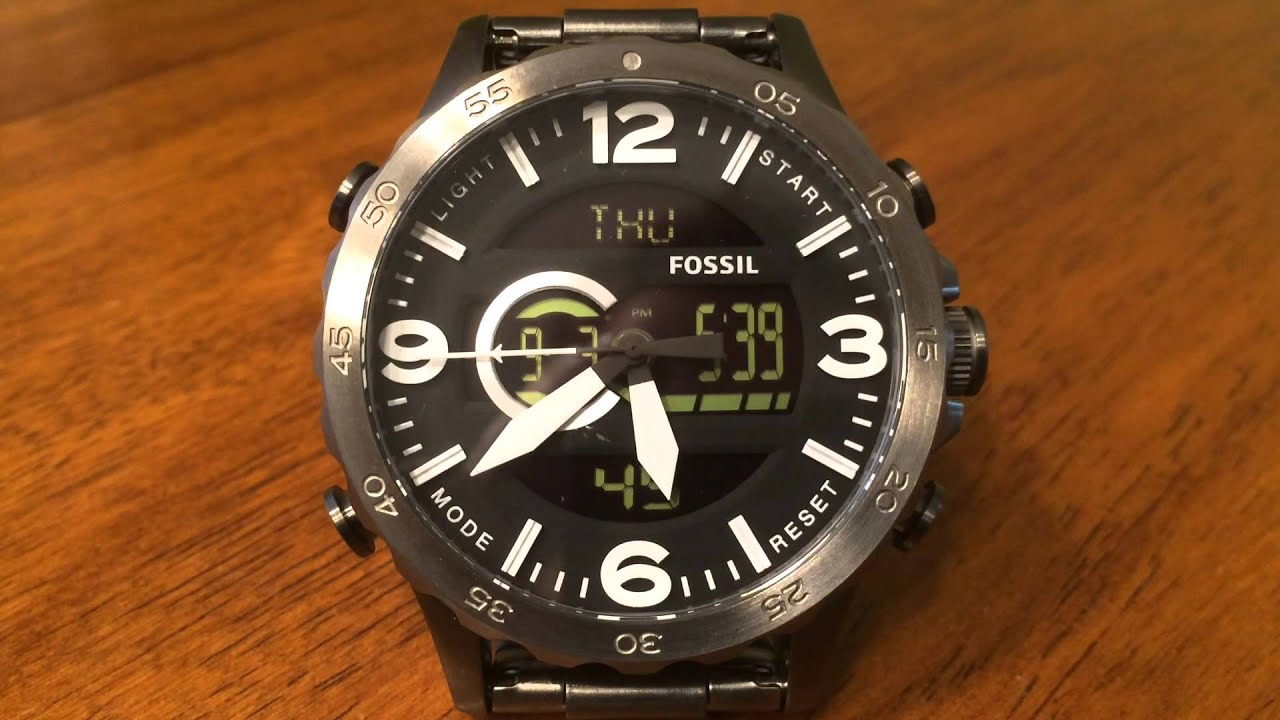 2466dd5278d Fossil Nate Analog-Digital Smoke Stainless Steel Watch JR1491 - YouTube