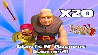 Clash of clans - Giants & Archer attack strategy ( Garcher)