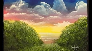 painting acrylic simple sky easy beginners paintings foreground ross bob tips