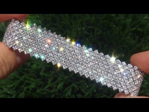 Certified Jewelry VS/F Natural Diamond 18k White Gold Tennis Cocktail Bracelet - C445