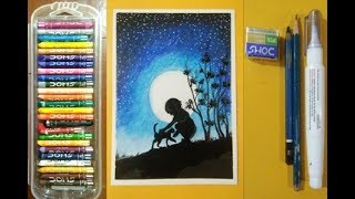 HOW TO DRAW MOONLIGHT SCENERY/NIGHT SKY MOUNTAIN PASTEL DRAWING/OIL PASTEL STEP BY STEP