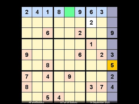 How to Solve New York Times Sudoku Hard September 14, 2020 - Hidden Pair