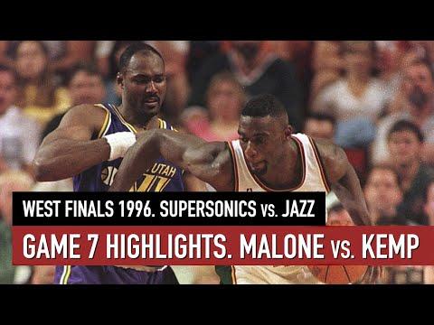 Throwback NBA West Finals 1996. SuperSonics Vs Jazz Game 7 Full Highlights. Malone Vs Kemp HD