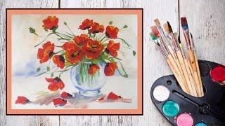 Уроки рисования! Как нарисовать маки/цветы в вазе гуашью! #Dari_Art(В этом видео предлагаю создать прекрасный букет цветов! По такому принципу можно сделать букет из любых..., 2015-09-28T13:00:00.000Z)